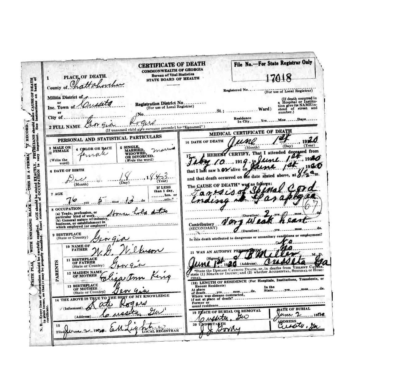 Georgia Rogers Death Certificate Kings Of Cusseta